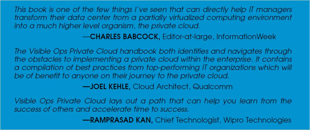 Visible Ops Private Cloud back cover quotes